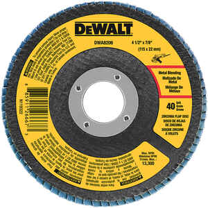 DeWalt  4-1/2 in. Dia. x 7/8 in.  Zirconia  Flap Disc  40 Grit Coarse  13300  1 pc.