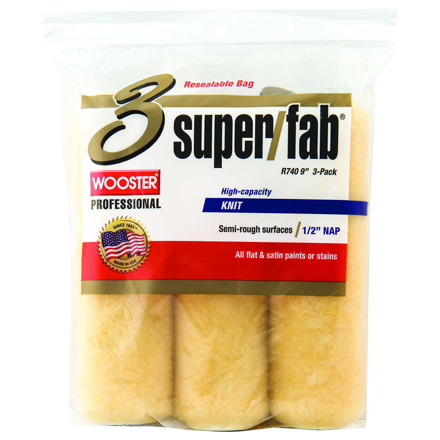 Wooster  Super/Fab  Fabric  1/2 in.  x 9 in. W Paint Roller Cover  For Semi-Smooth Surfaces 3 pk
