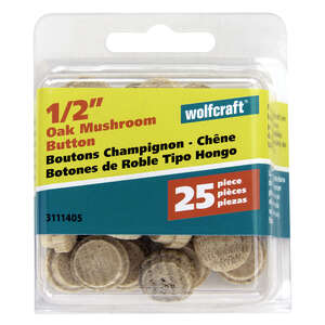Wolfcraft  Round  Oak  Button Plug  1/2 in. Dia. x 3/8  L 25 pk Natural