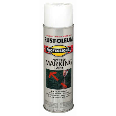 Rust-Oleum  Professional  White  Inverted Marking Paint  15 oz.