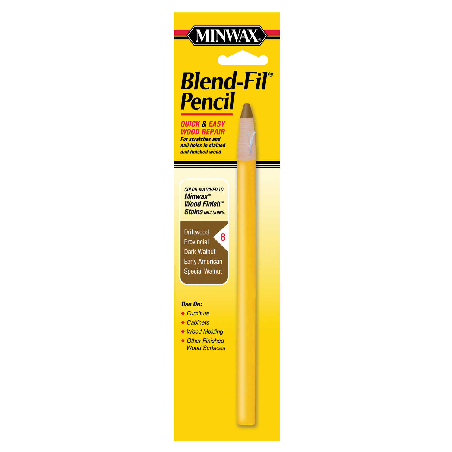 Minwax  Blend Fil No. 8  Wood Pencil  1 oz. Dark Walnut, Driftwood, Early American, Provincial