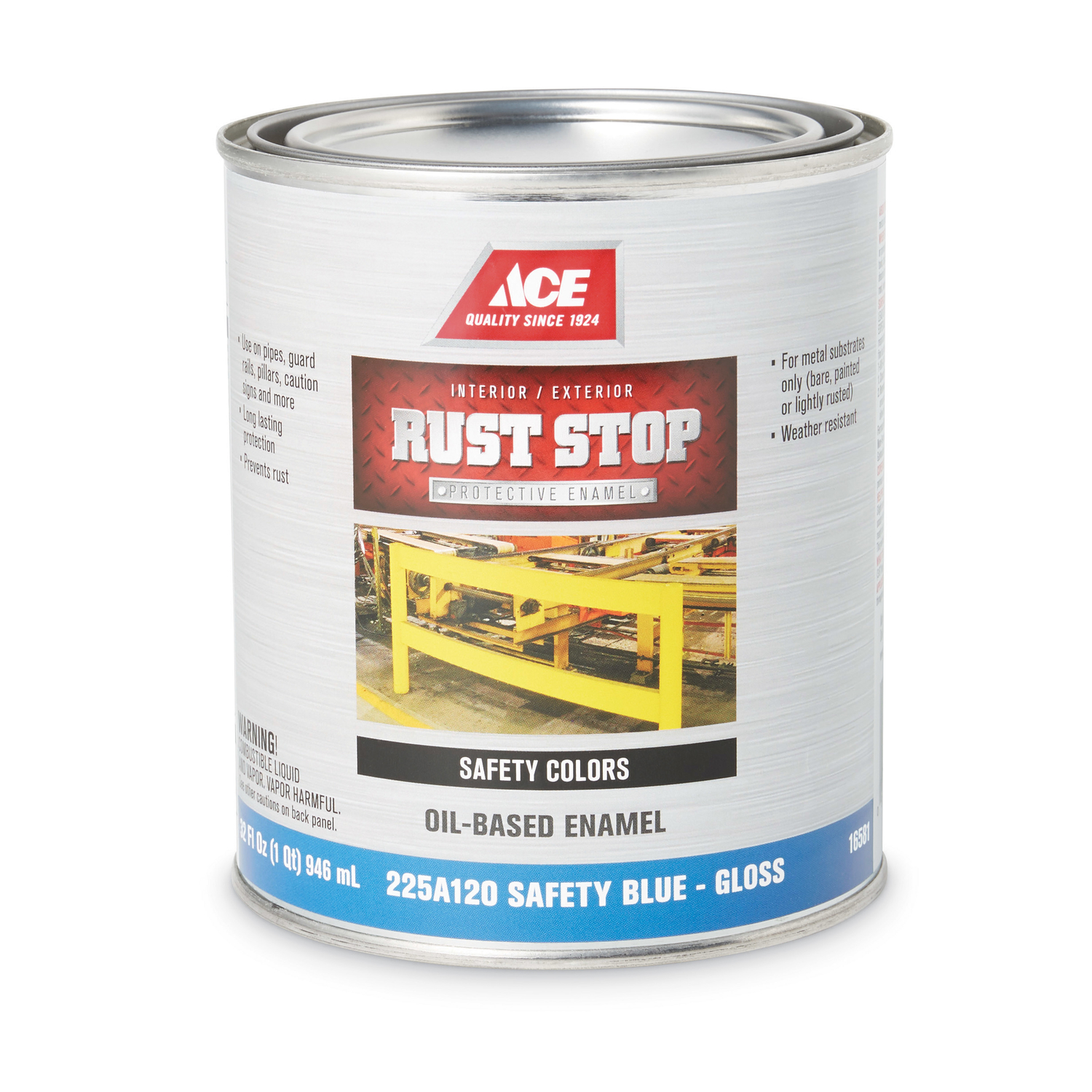 Ace  Rust Stop  Interior/Exterior  Gloss  Safety Blue  Indoor and Outdoor  1 qt. Rust Prevention Pai