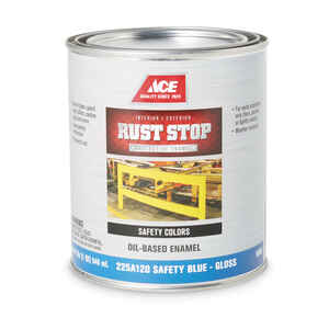 Ace  Rust Stop  Indoor and Outdoor  Interior/Exterior  Safety Blue  Rust Prevention Paint  1 qt. Glo