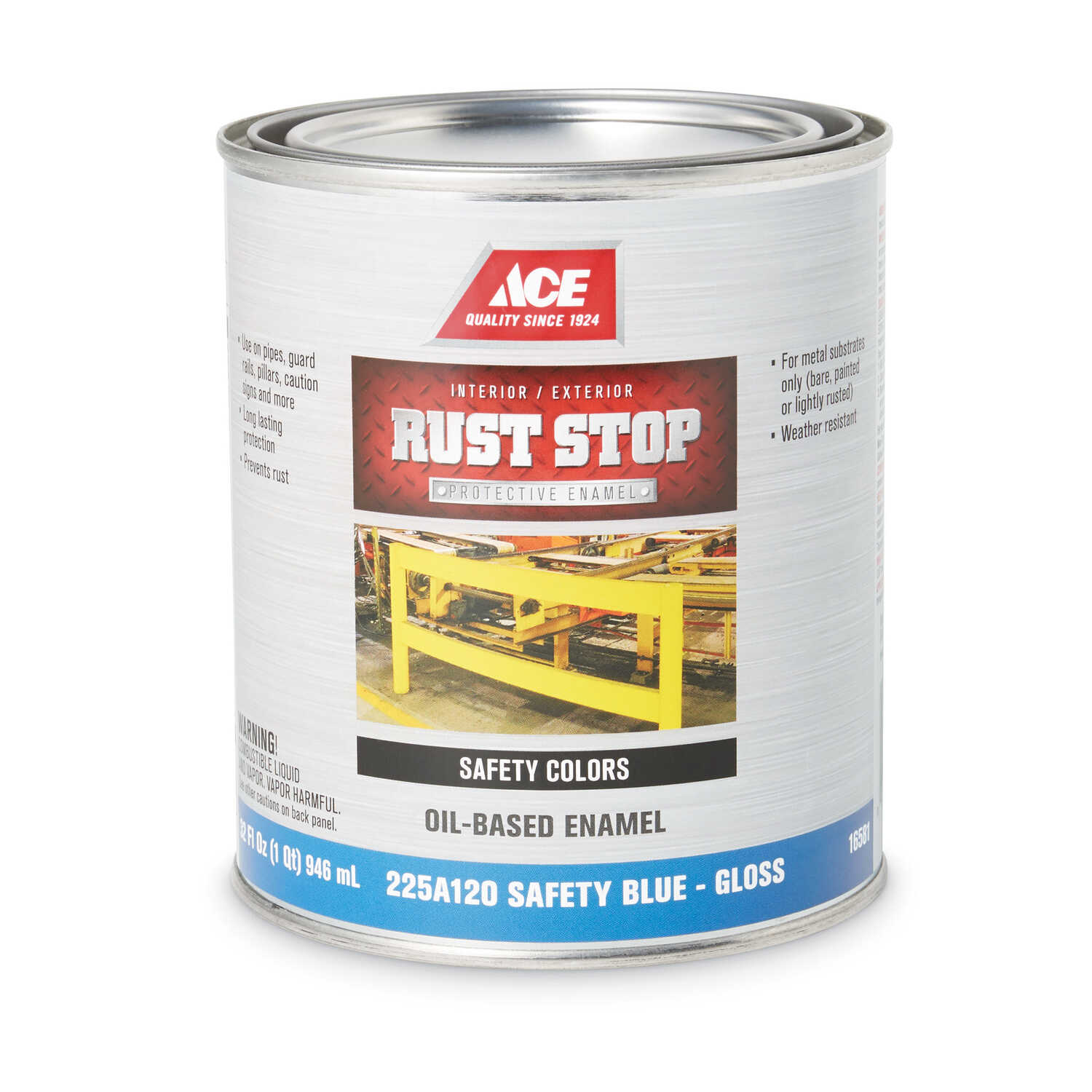 Ace  Rust Stop  Indoor and Outdoor  Gloss  Safety Blue  Rust Prevention Paint  1 qt.