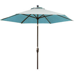 Hanover  Traditions  11 ft. Tiltable Blue  Patio Umbrella