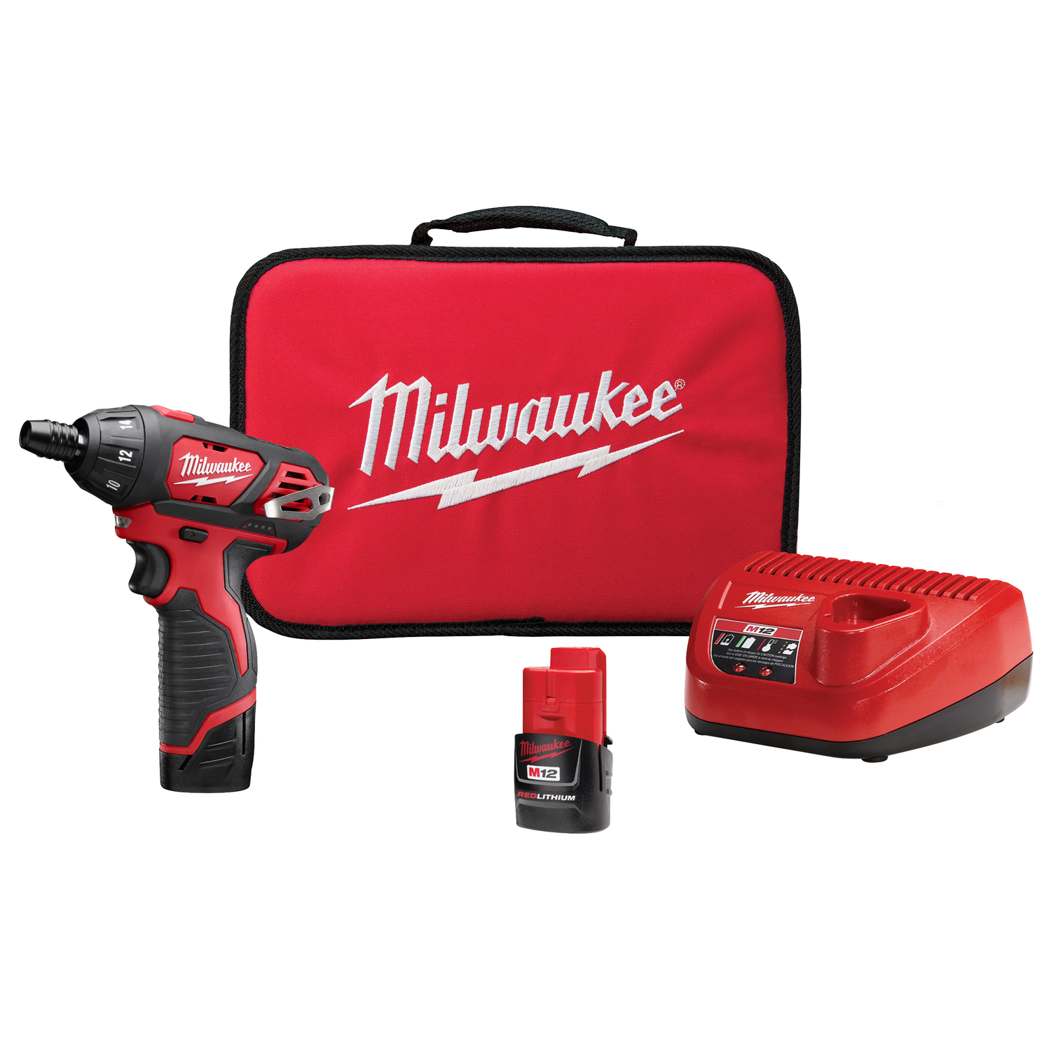 Milwaukee  M12  1/4  Keyless  Cordless  Battery Operated Screwdriver  12 volt 1.5 amps 500 rpm 1 pc.