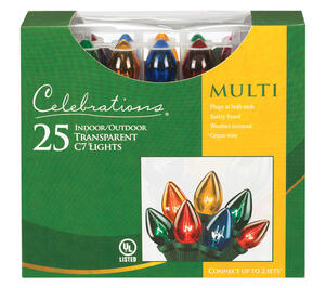 Celebrations  Transparent C7  Incandescent  Light Set  Multicolored  24 ft. 25 lights