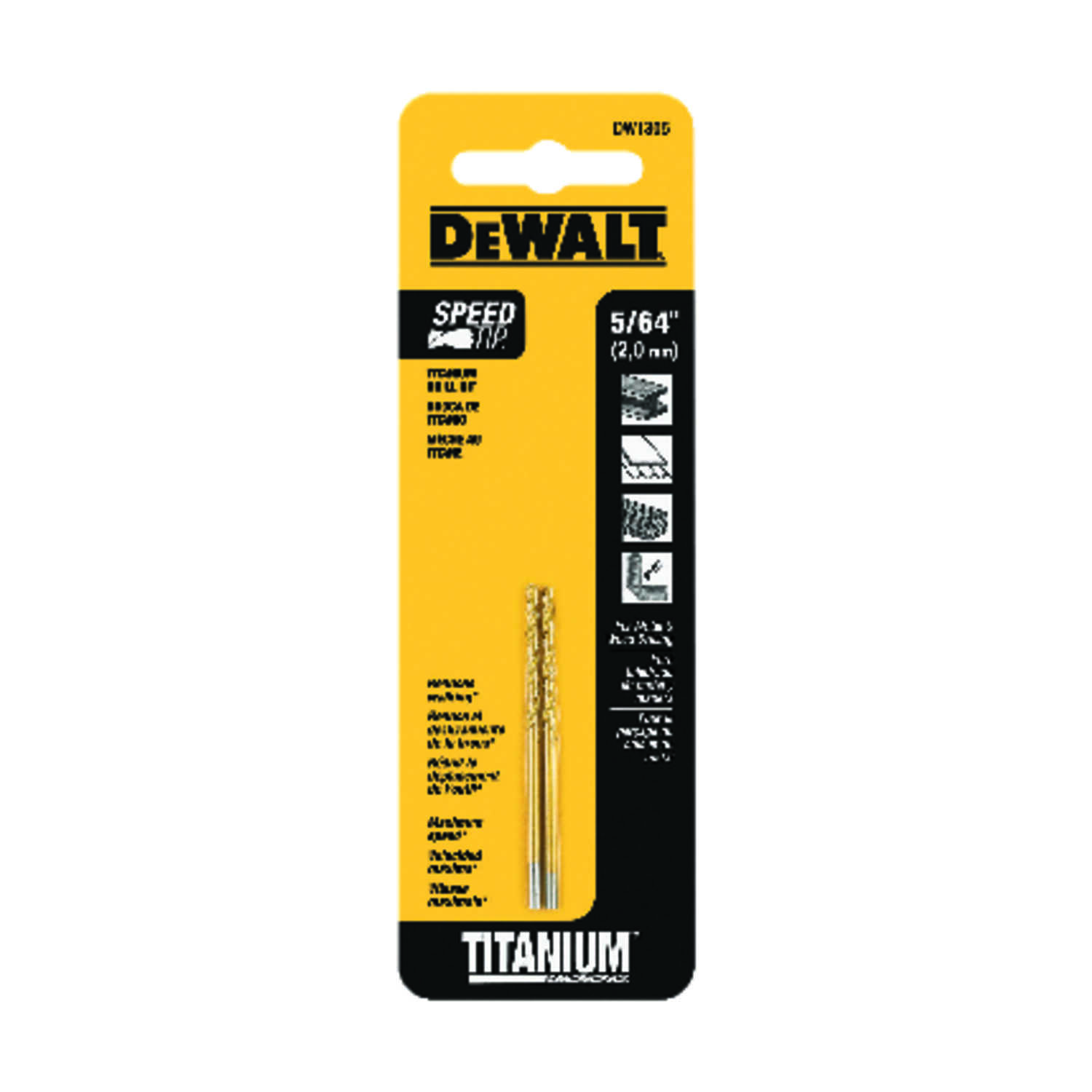 DeWalt  Speed Tip  5/64 in. Dia. x 2 in. L Split Point Drill Bit  Straight Shank  Titanium  2 pc.