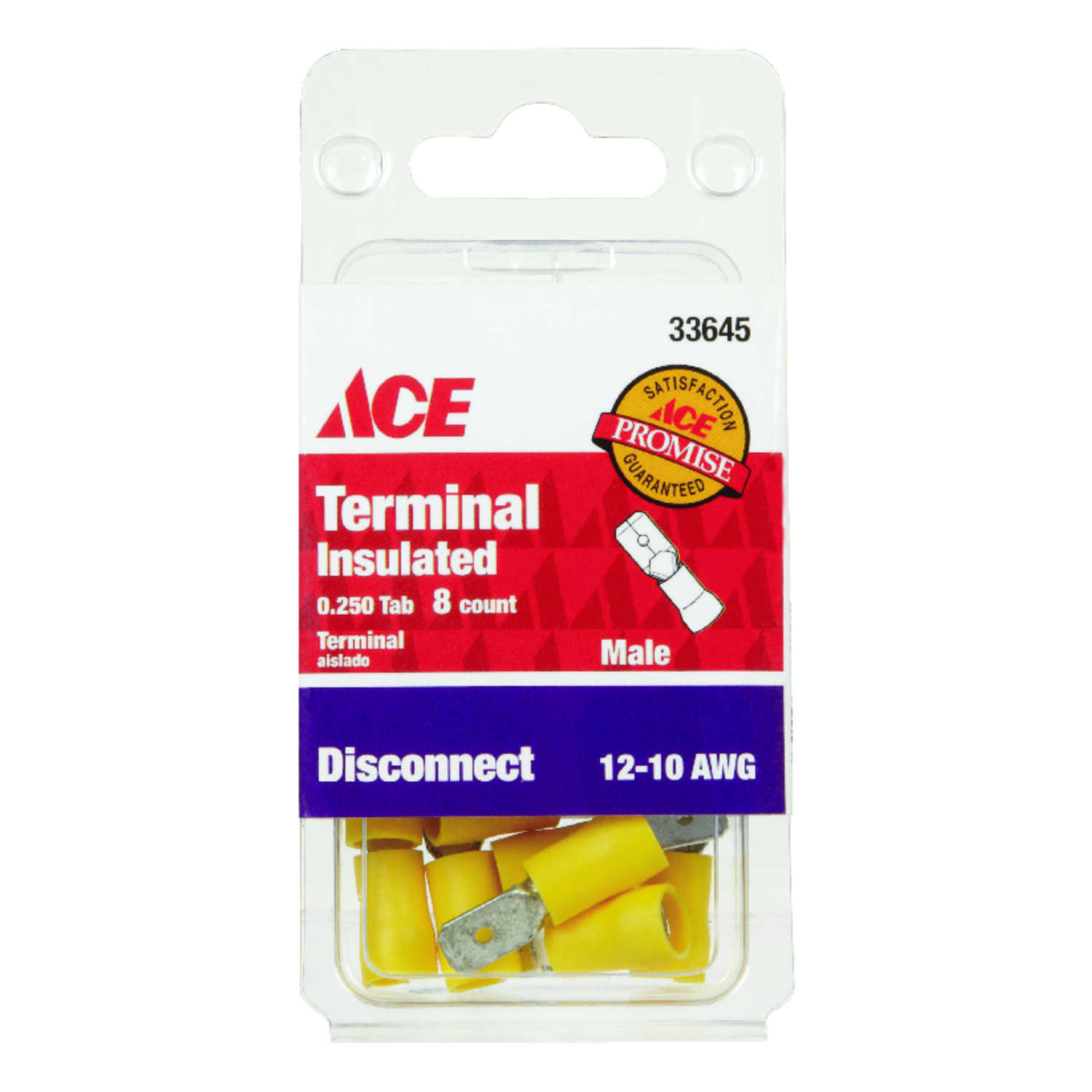 Ace  Insulated Wire  Male Disconnect  8 pk