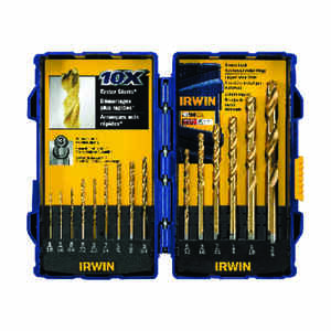Irwin  Multi Size in. Dia. x Multiple  L High Speed Steel  Drill Bit Set  Straight Shank  15 pc.