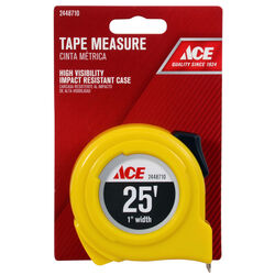 Ace  25 ft. L x 1 in. W High Visibility  Tape Measure  Yellow  1 pk