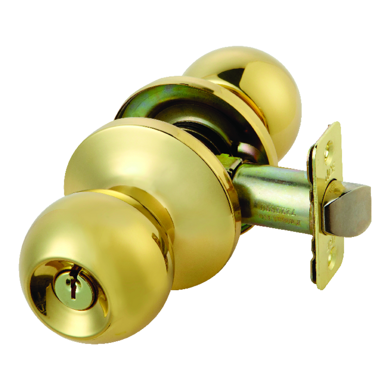 Ace  Ball  Polished Brass  Steel  ANSI/BHMA Grade 3  1-3/4 in. Entry Lockset