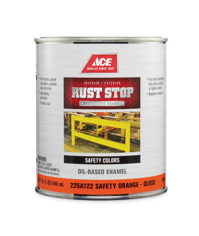 Ace  Rust Stop  Indoor and Outdoor  Gloss  Safety Orange  Rust Prevention Paint  1 qt.