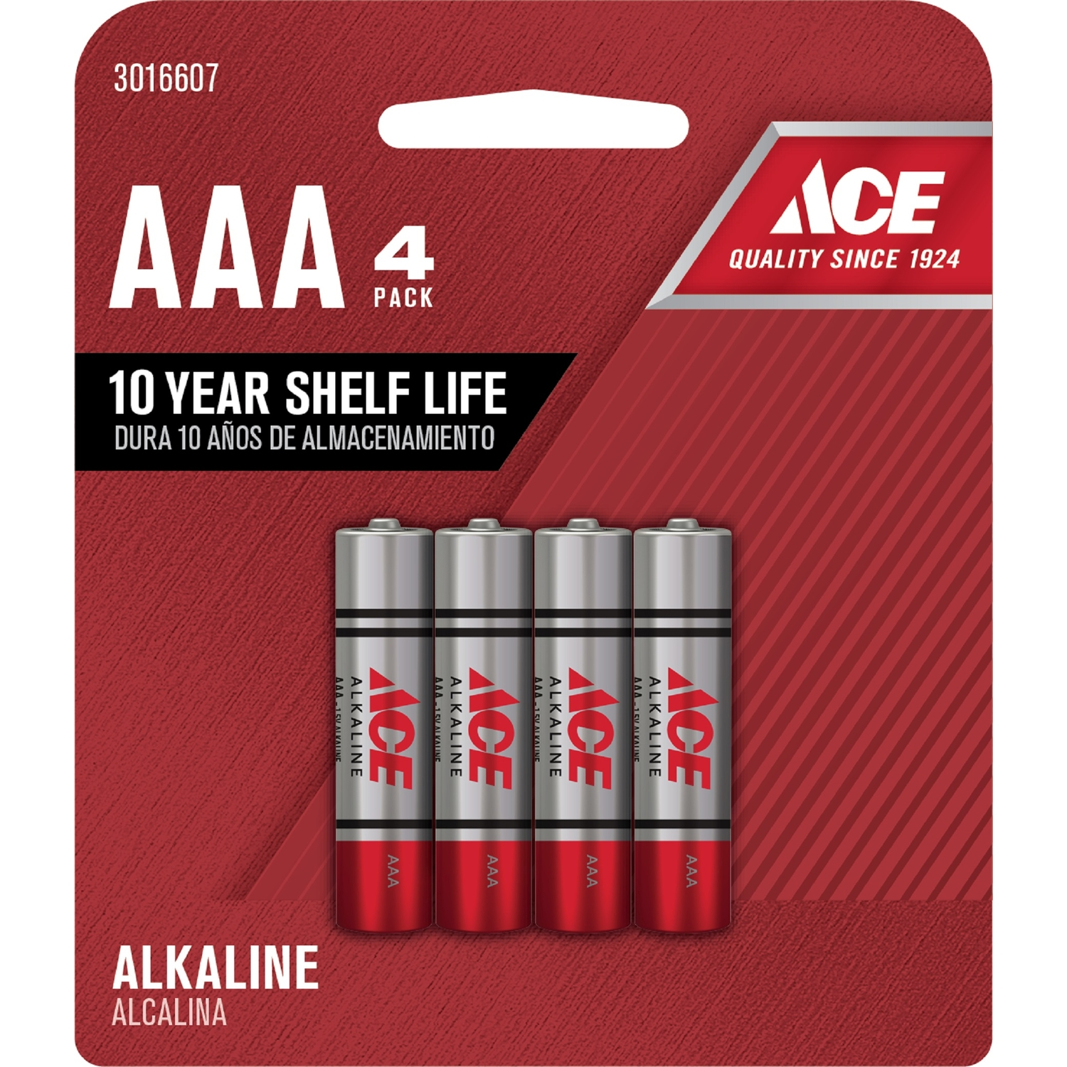 Ace  AAA  Alkaline  Batteries  1.5 volts 4 pk Carded