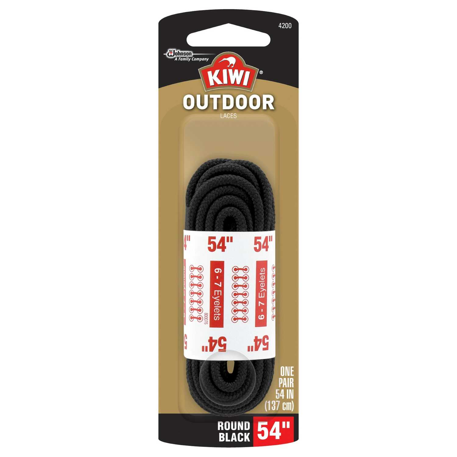Kiwi  Outdoor  54 in. Black  Boot Laces