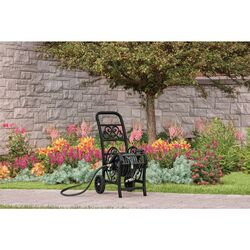 Suncast  200 ft. Wheeled  Decorative  Black  Hose Cart