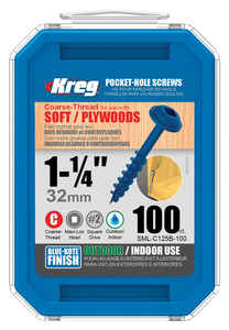 Kreg  No. 8   x 1-1/4 in. L Square  Blue-Kote  Pocket-Hole Screw  100 count