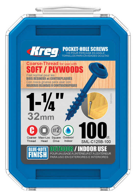 Kreg  No. 8   x 1-1/4 in. L Square  Maxi-Loc Head Blue-Kote  Steel  Pocket-Hole Screw  100 count