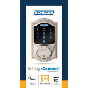 Schlage  Satin Nickel  Zinc  Deadbolt w/Alarm