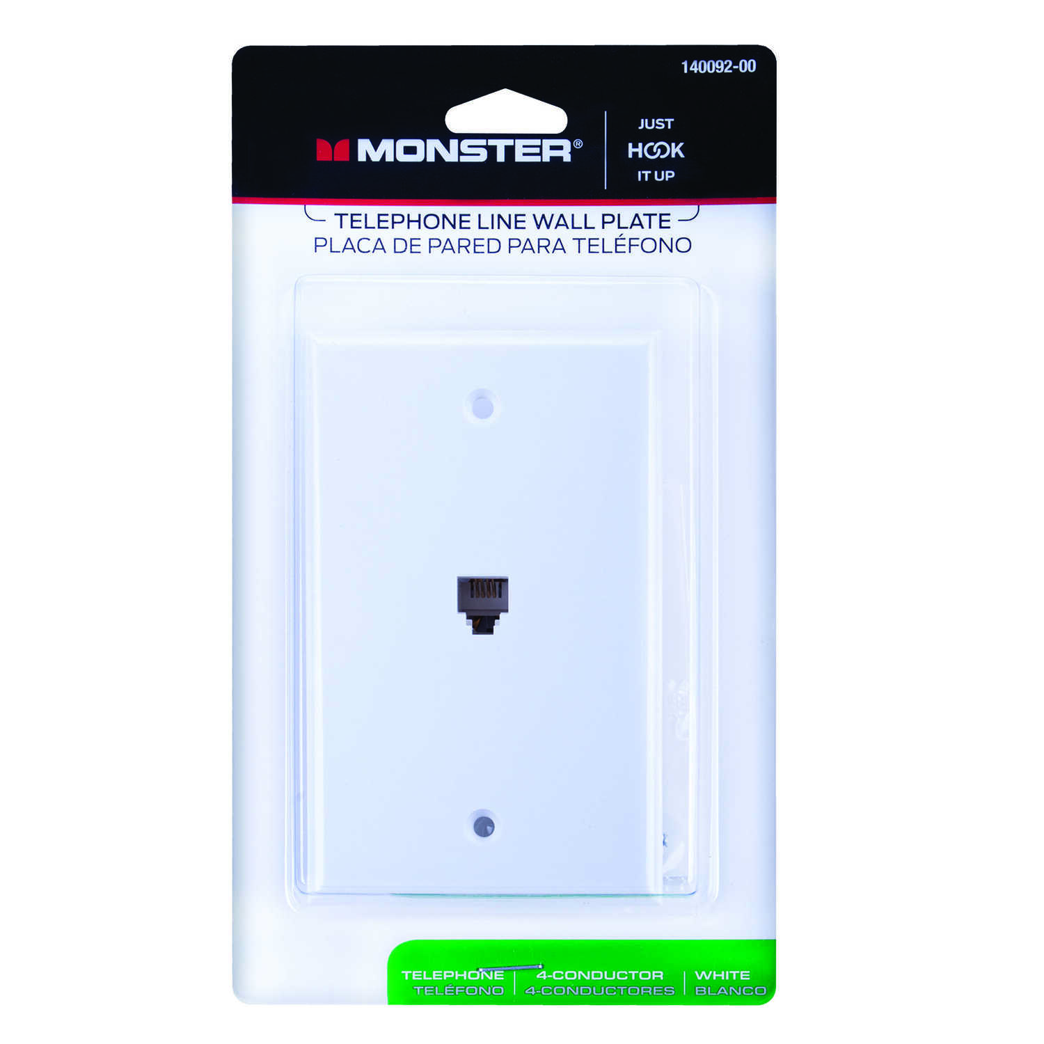 Monster Cable  Just Hook It Up  White  1 gang Plastic  Telephone  Wall Plate  1 pk