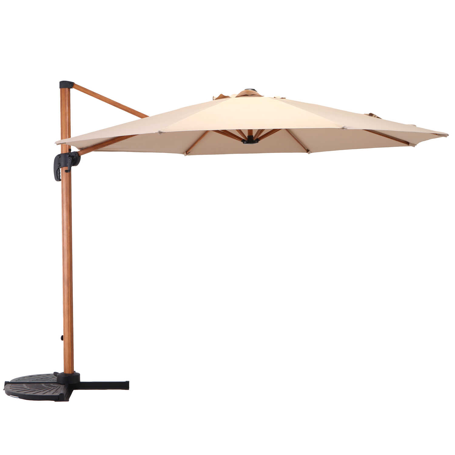 Living Accents  Offset  10 ft. Tiltable Beige  Patio Umbrella