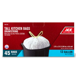Ace 13 gal. Tall Kitchen Bags Drawstring 45 pk