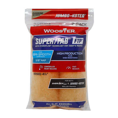 Wooster  Super/Fab  3/8 in.  x 4.5 in. W Paint Roller Cover  2 pk