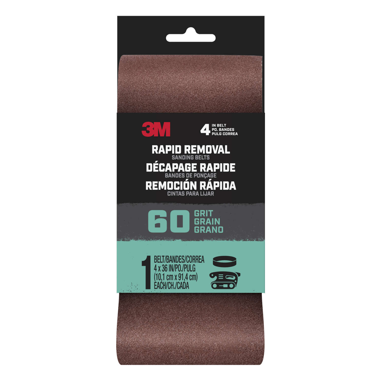 3M  Rapid Removal  36 in. L x 4 in. W Aluminum Oxide  Sanding Belt  60 Grit Medium  1 pc.