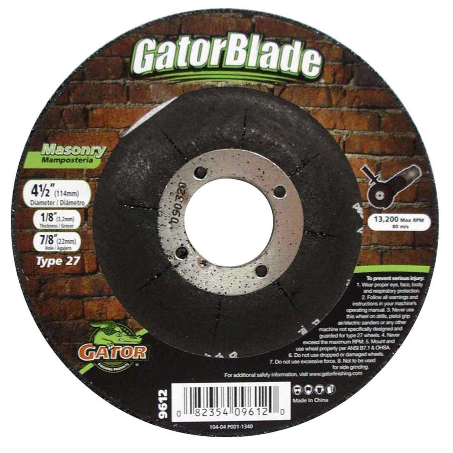 Gator  4-1/2 in. Dia. x 1/8 in. thick  x 5/8 in.   Masonry Grinding Wheel  1 pc.
