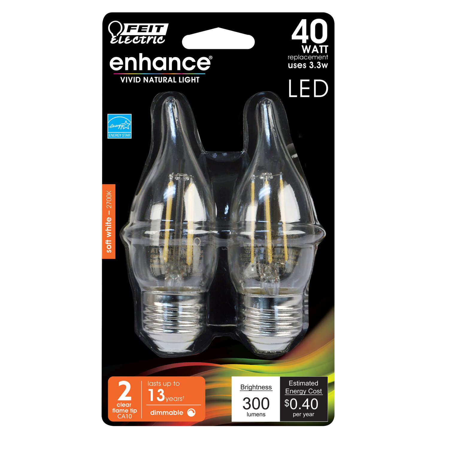 FEIT Electric  ENHANCE  CA10  E26 (Medium)  LED Bulb  Soft White  40 Watt Equivalence 2 pk