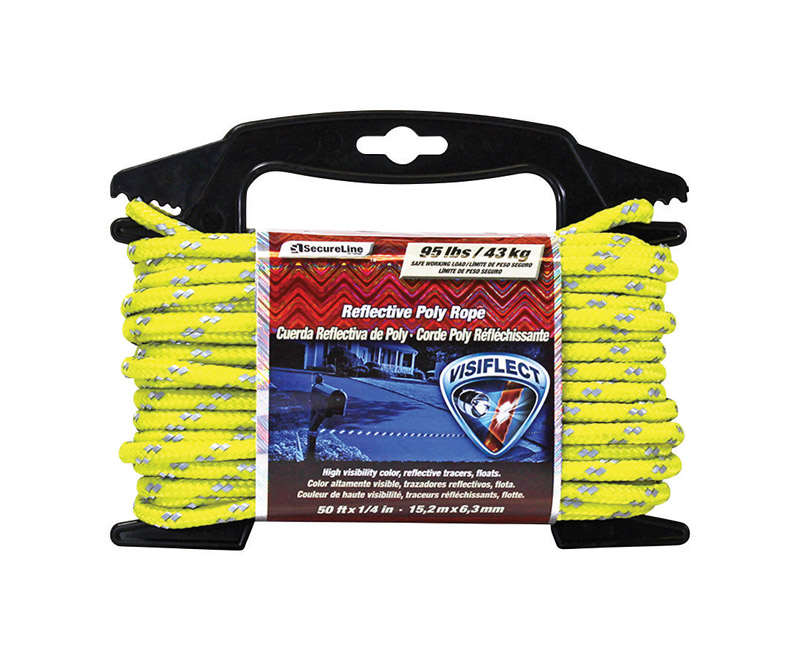 SecureLine  1/4 in. Dia. x 50 ft. L Diamond Braided  Rope  Yellow  Poly