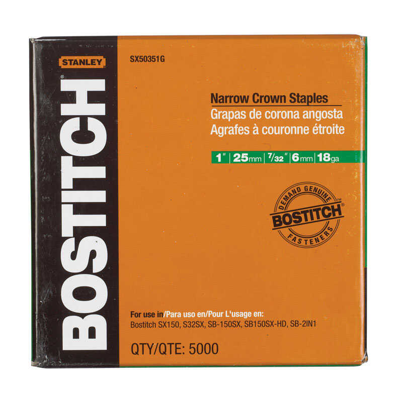 Bostitch  1 in. L x 7/32 in. W Narrow Crown  Caps and Staples  18 Ga. 5000 pk Galvanized Steel
