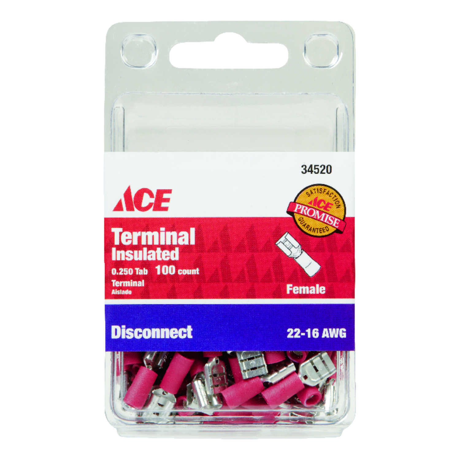 Ace  Insulated Wire  Female Disconnect  100 pk