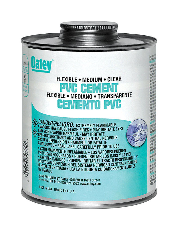 Oatey  Flexible PVC  Cement  Clear  For Flexible PVC 4 oz.