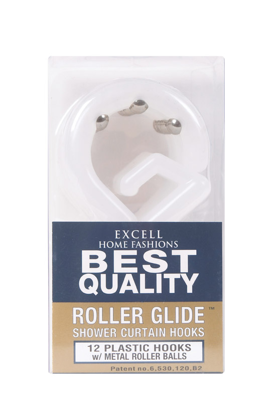 Excell  Frosted  Plastic  Roller Glide  Shower Curtain Rings  12 pk White
