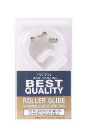 Excell  Frosted  White  Plastic  Roller Glide  Shower Curtain Rings  12 pk