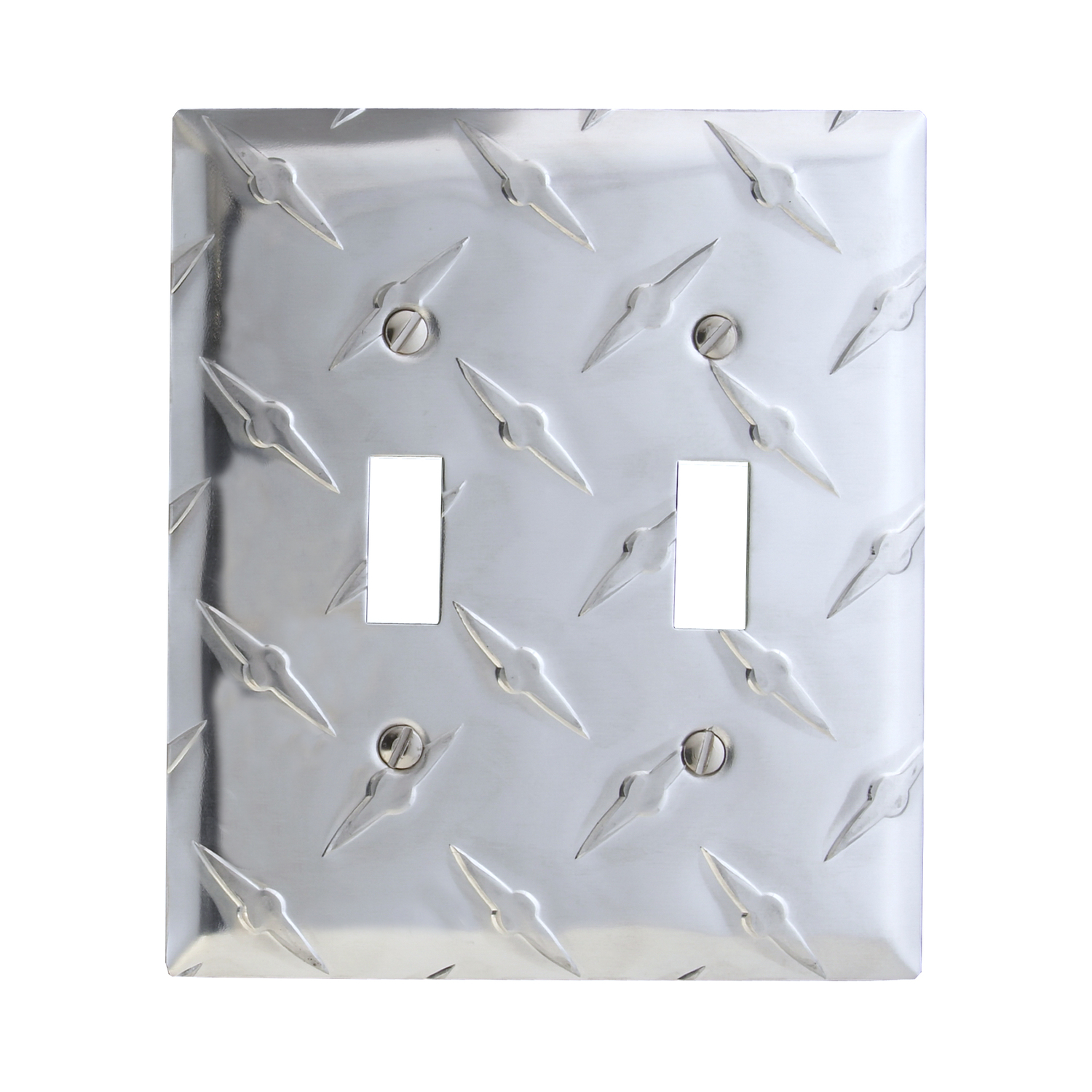 Amerelle  Diamond  2 gang Stamped Aluminum  Toggle  Wall Plate  1 pk