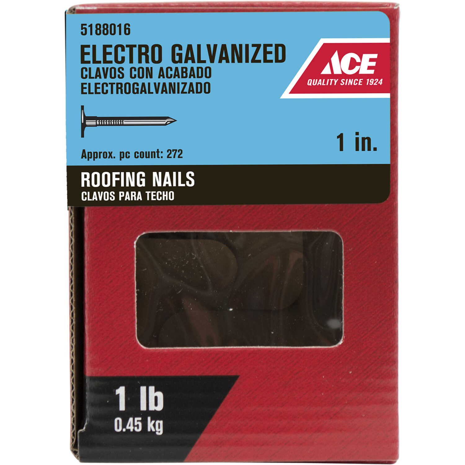 Ace  1 in. L Roofing  Steel  Nail  Large Head Smooth Shank  272 pk 1 lb.