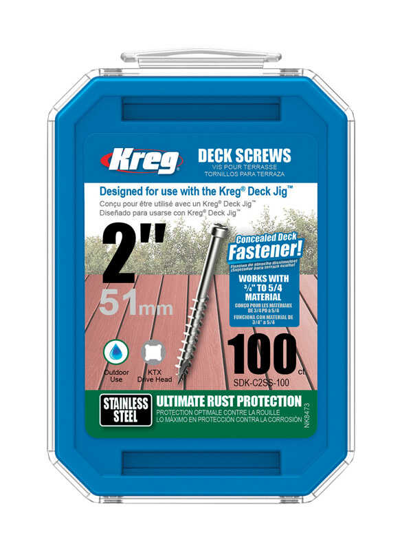 Kreg Tool  No. 8   x 2 in. L Square  Flat Head Stainless Steel  Deck Screws  100  100 pk
