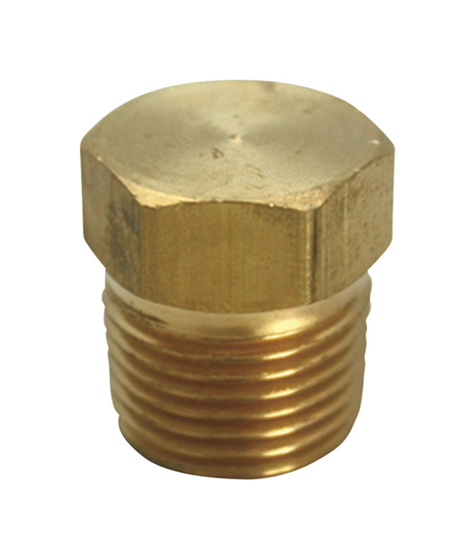 JMF  1/8 in. Dia. MPT  Yellow Brass  Square Head Plug