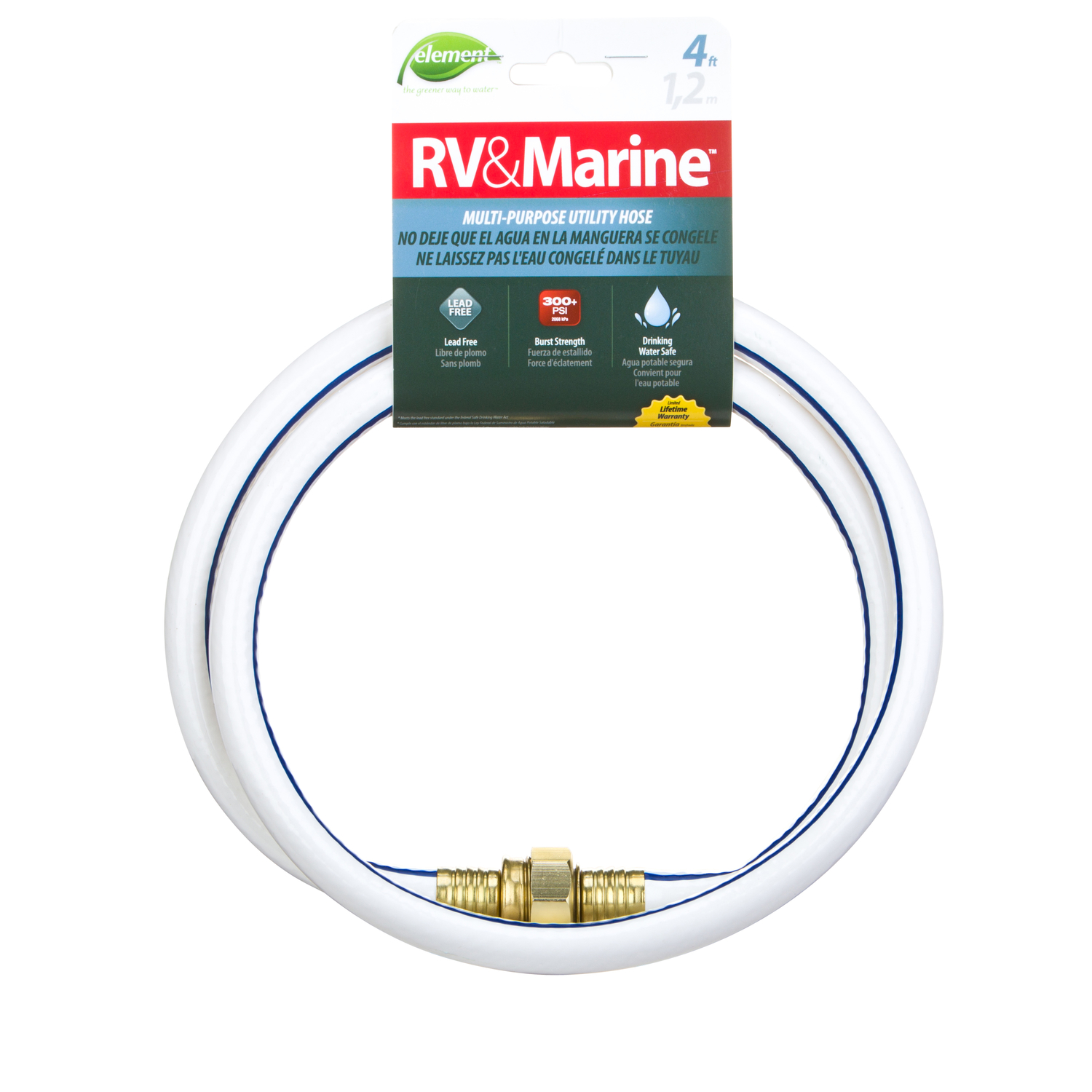 Swan  Element  1/2 in. Dia. x 4 ft. L RV/Marine  White  Hose