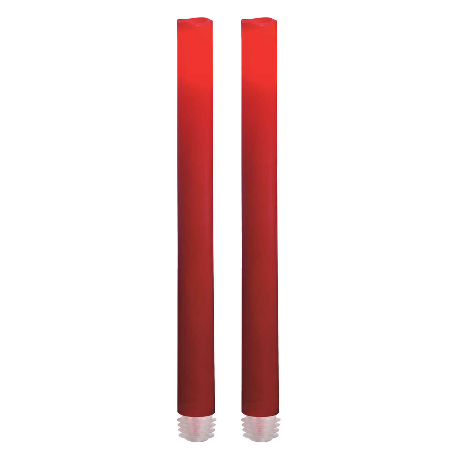 Inglow  No Scent Red  Taper  Candle  9 in. H