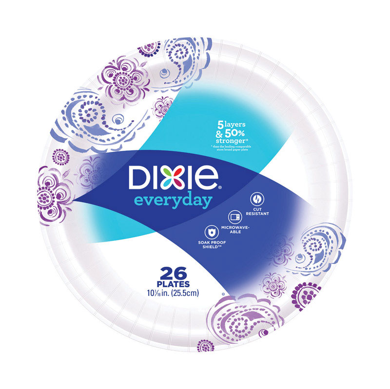 Dixie  Multi-Colored  Paper  FLOWERS BLOOM  Dinner Plate  26 count