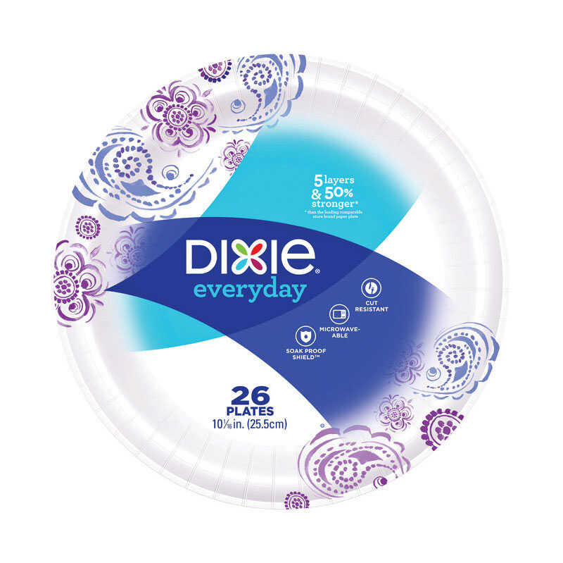 Dixie  Assorted  Paper  FLOWERS BLOOM  Dinner Plate  26 pk