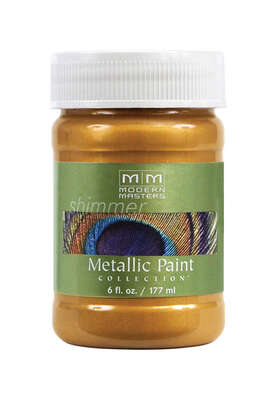 Modern Masters  Shimmer  Satin  Olympic Gold  Water-Based  Metallic Paint  6 oz.