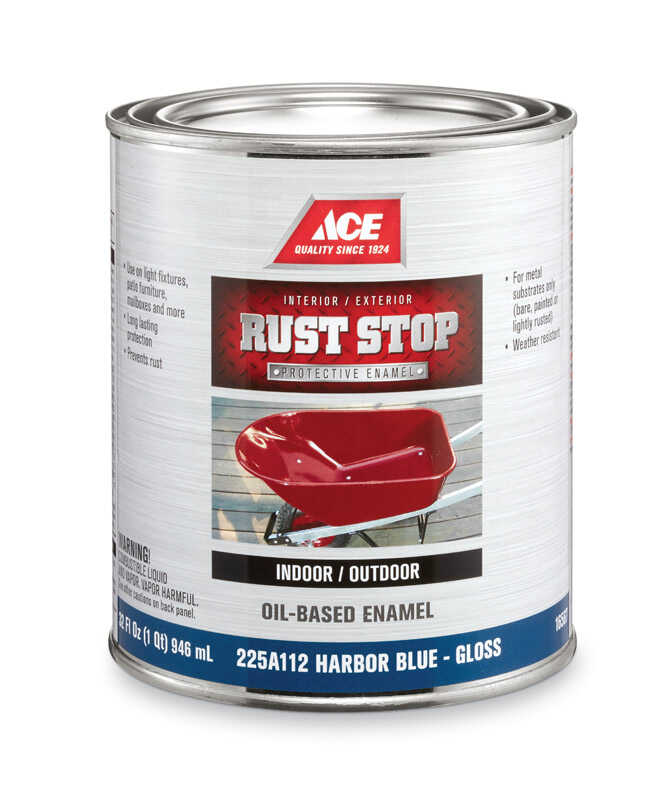 Ace  Rust Stop  Indoor and Outdoor  Gloss  Harbor Blue  Rust Prevention Paint  1 qt.