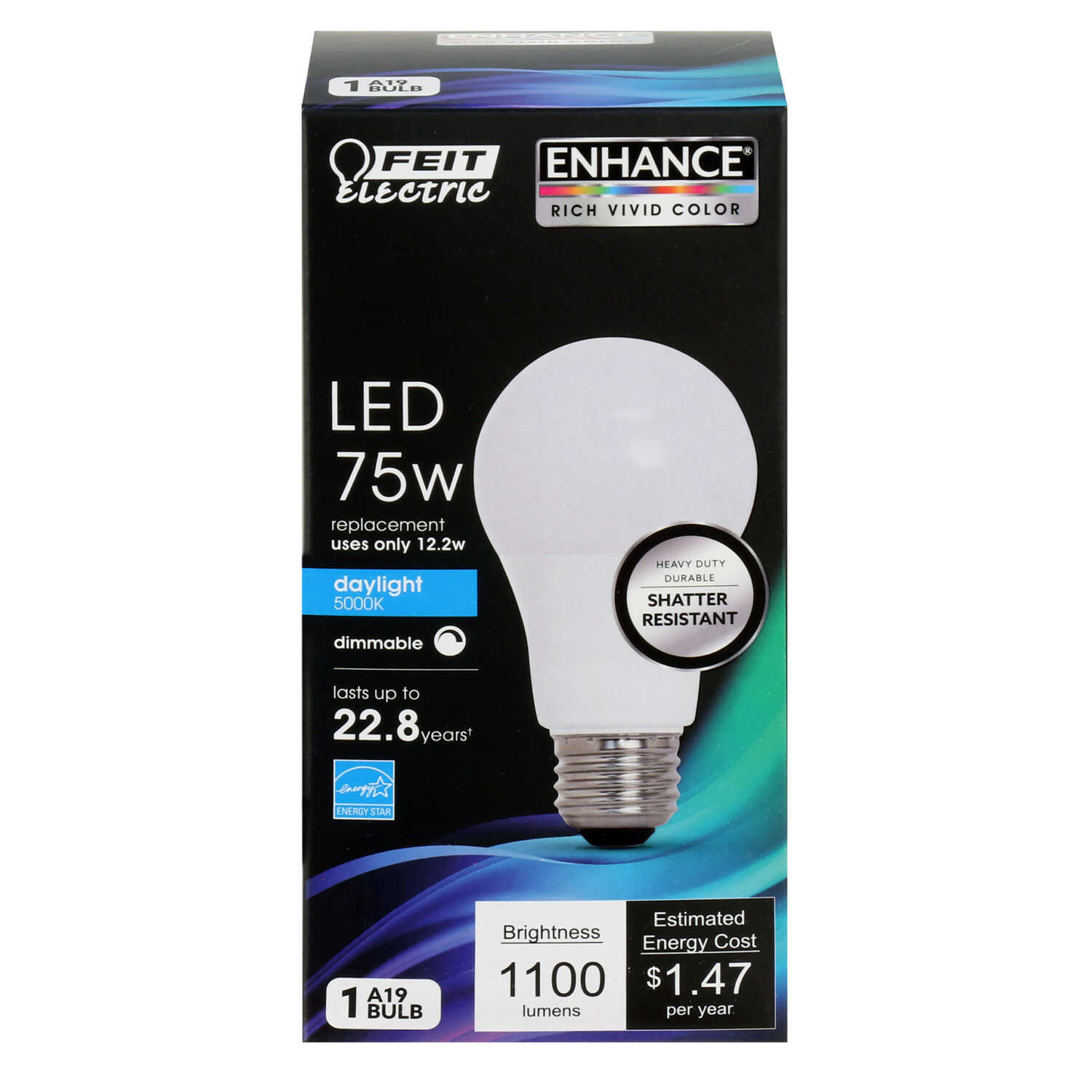 FEIT Electric  12.2 watts A19  LED Bulb  1100 lumens Daylight  A-Line  75 Watt Equivalence