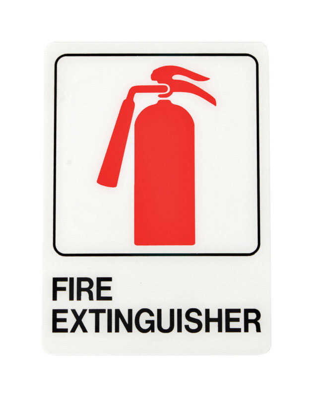 Hy-Ko  English  7 in. H x 5 in. W Sign  Plastic  Fire Extinguisher