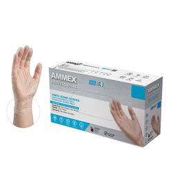 Ammex Professional Vinyl Disposable Exam Gloves Medium Clear Powder Free 100 pk