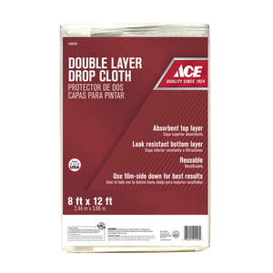 ACE  Light Weight  Plastic  Two-Layer Drop Cloth  8 ft. W x 12 ft. L
